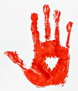 bloody handprint -- crime scene cleaning concept